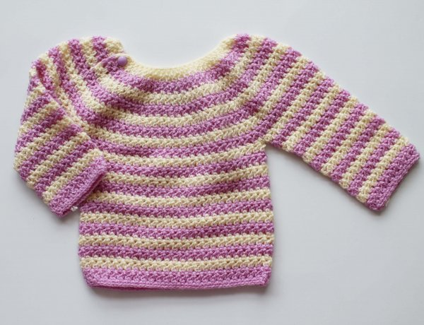 Woonie Handmade Pink Striped Sweater for Kids