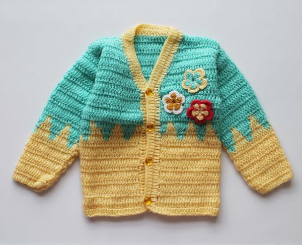 Woonie Handmade Yellow and Green Front Openable Sweater for Kids