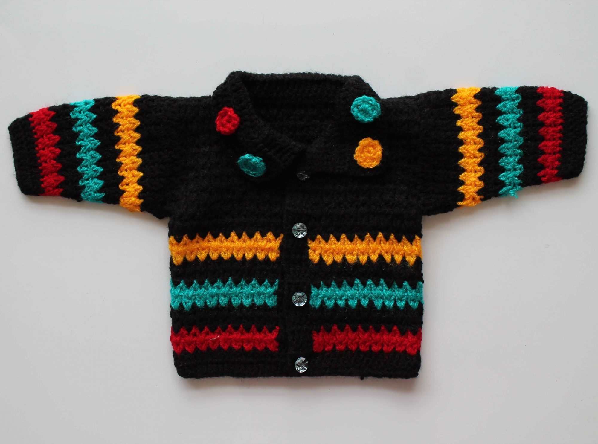Woonie Handmade Black Striped Sweater for Kids