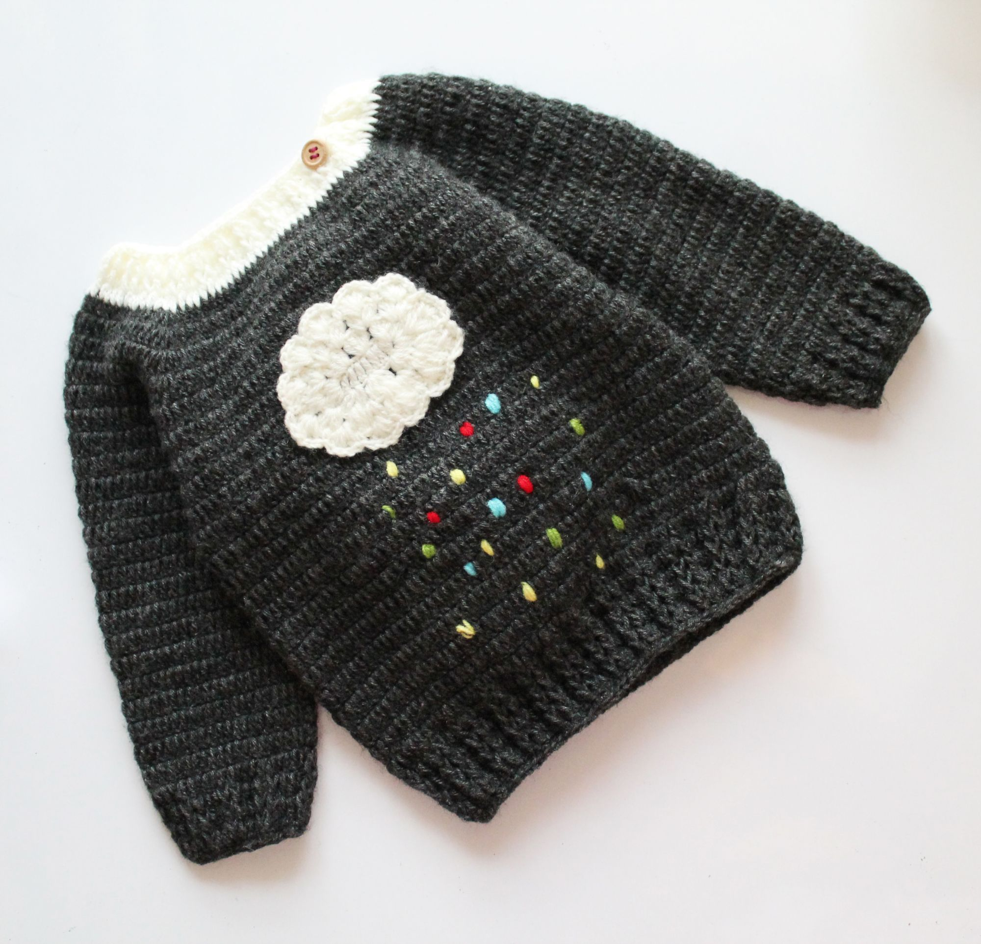 Woonie Handmade Grey Cloud Applique Sweater for Kids