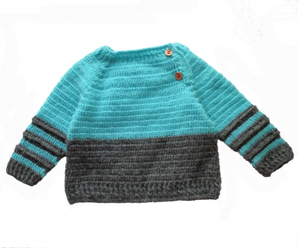 Woonie Handmade Blue and Grey Sweater for Kids