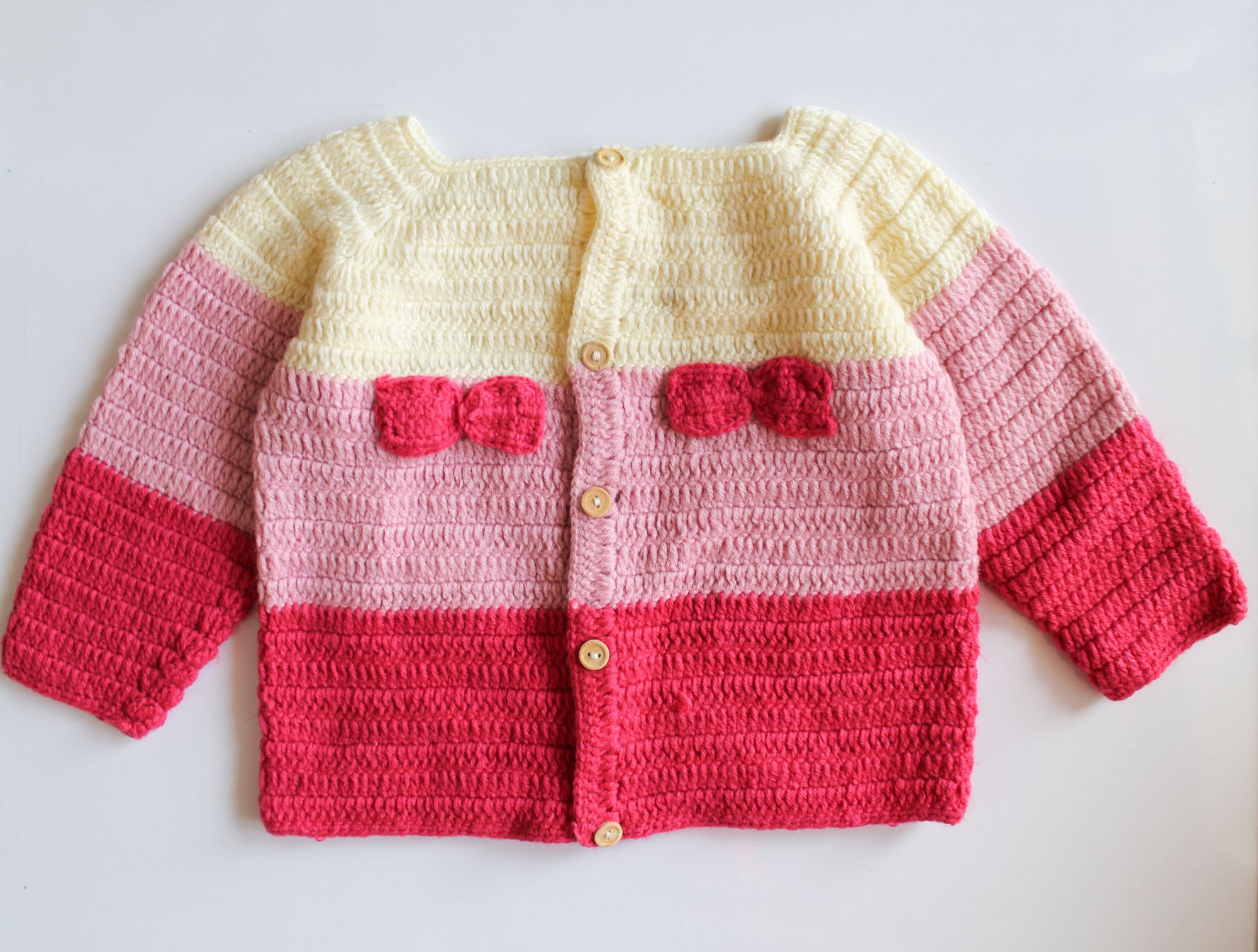 Woonie Handmade Pink Bow Sweater for Kids