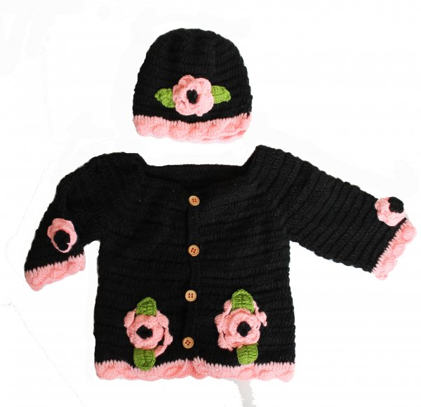 Woonie Handmade Black Floral Sweater with Matching Cap