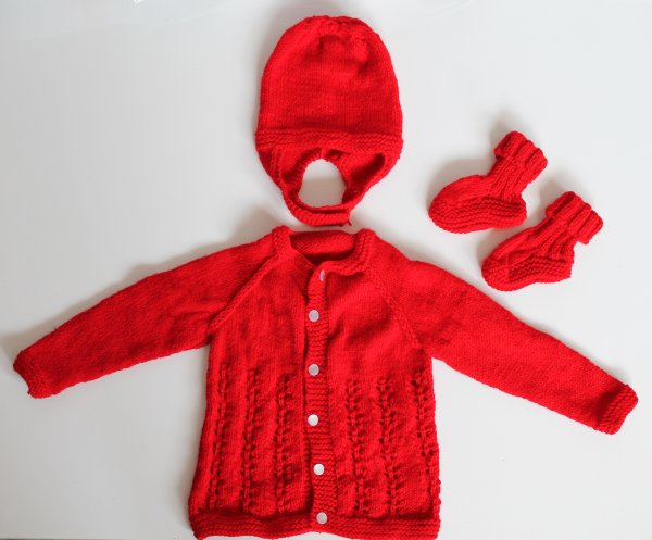 Woonie Handmade Red Knitted Sweater with Cap and Booties for Kids