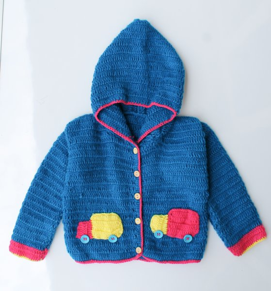 Woonie Handmade Blue Hood Sweater for Kids