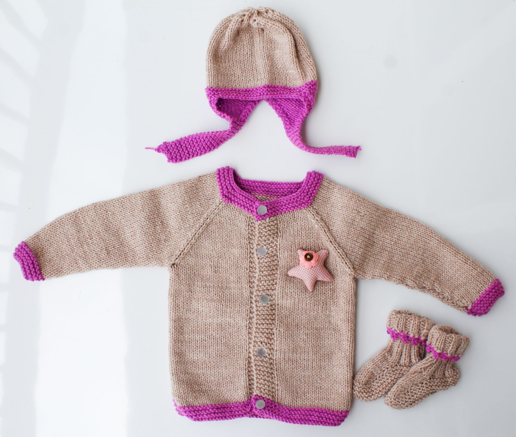 Woonie Handmade Beige and Purple Knitted Sweater with Cap and Booties for Kids