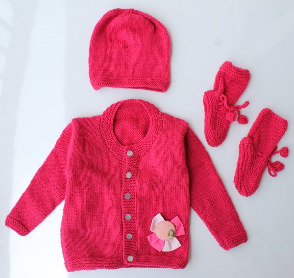 Woonie Handmade Dark Pink Knitted Sweater with Cap and Booties for Kids