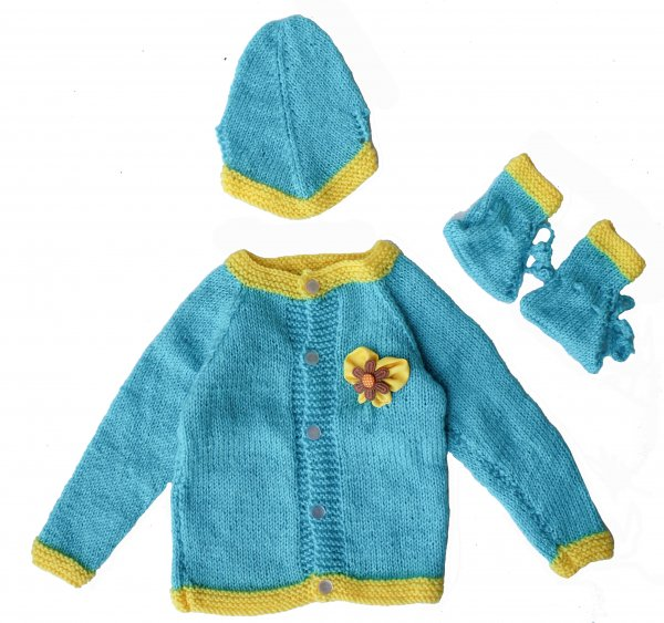 Woonie Handmade Blue Knitted Sweater with Cap and Booties for Kids