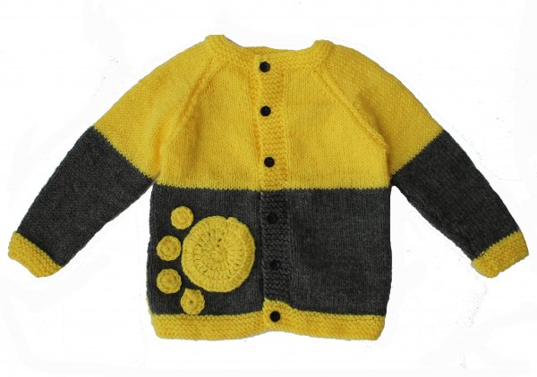 Woonie Handmade Yellow and Grey Sweater for Kids