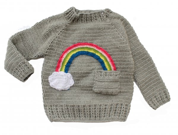 Woonie Handmade Rainbow Applique Grey Sweater for Kids