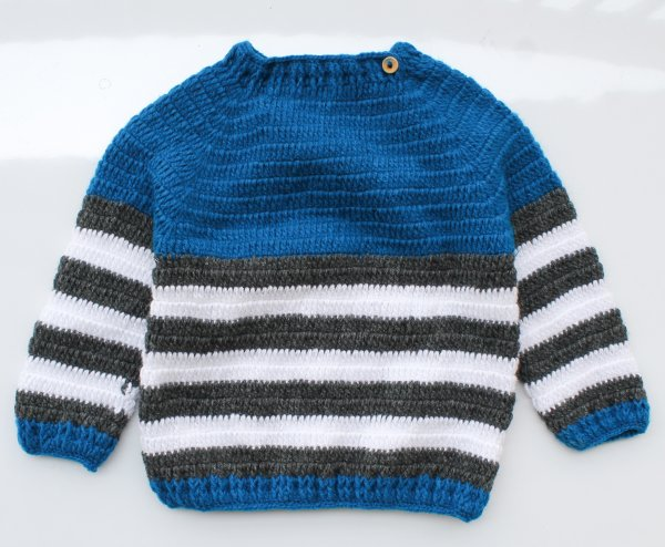 Woonie Handmade Blue and White Striped Sweater for Kids