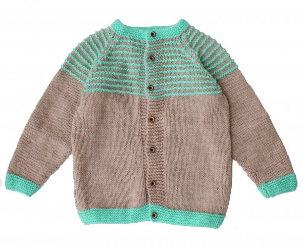 Woonie Handmade Beige and Green Sweater for Kids