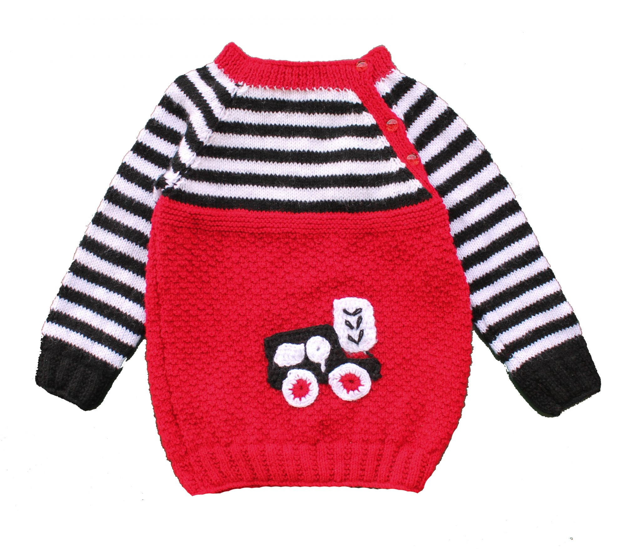 Woonie Handmade Red and White Striped Sweater for Kids