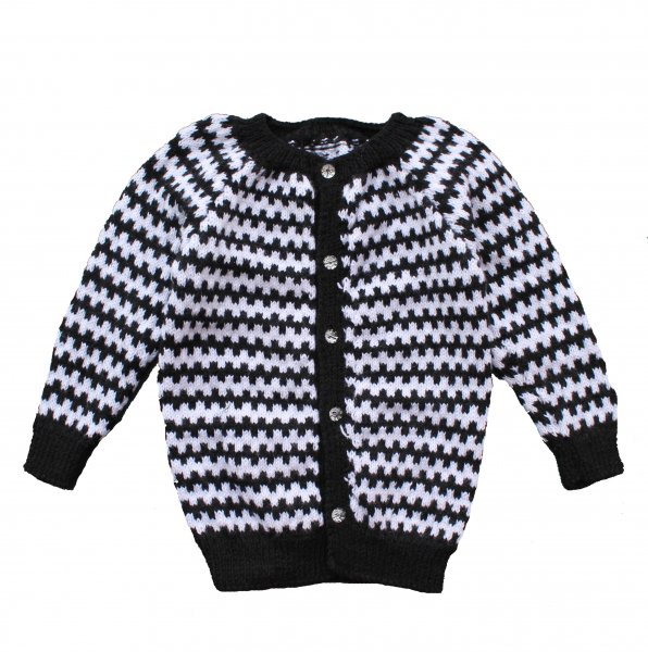 Woonie Handmade Black and White Striped Sweater for Kids