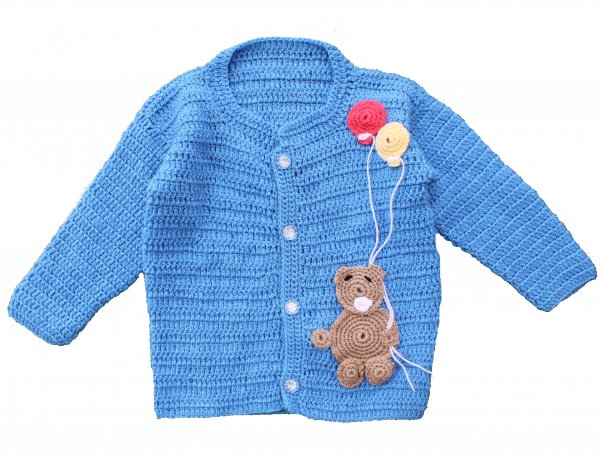 Woonie Handmade Blue Bear Sweater for Kids