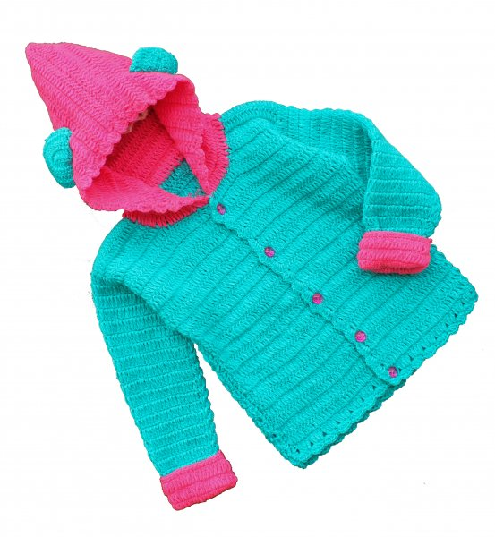 Woonie Handmade Turquoise Hood Sweater for Kids