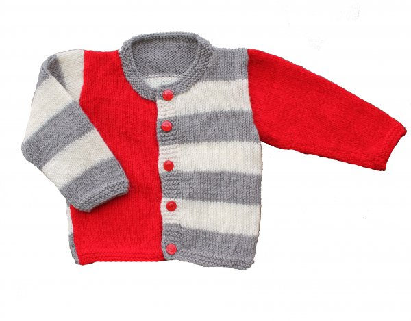 Woonie Handmade Red and Grey Striped Sweater for Kids