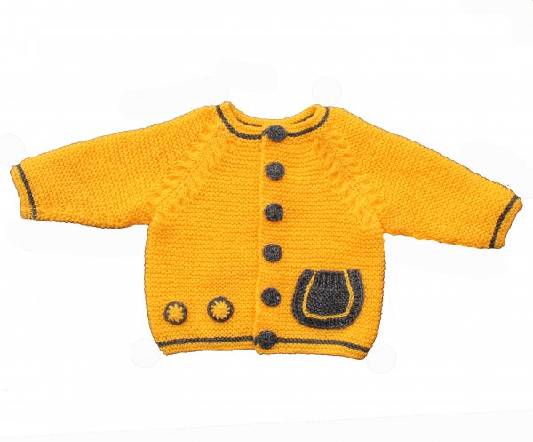 Woonie Handmade Yellow Sweater with Pocket for Kids