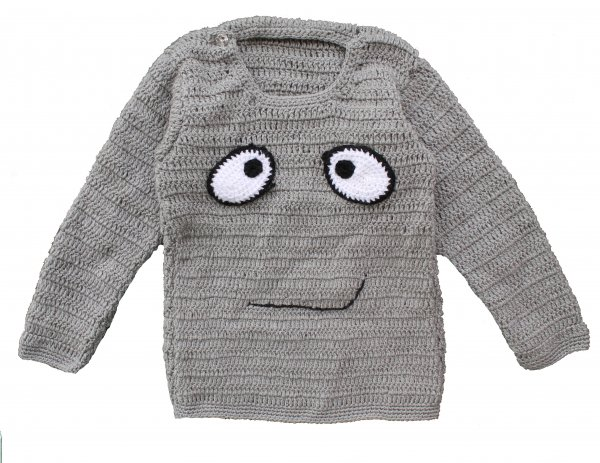 Woonie Handmade Grey Sweater for Kids
