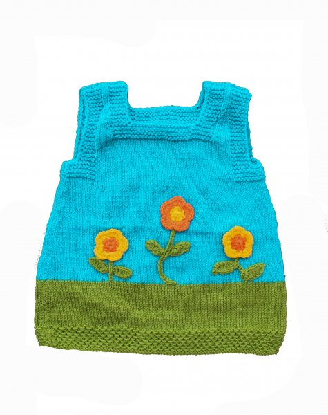 Woonie Handmade Blue Floral Sleeveless Sweater for Kids