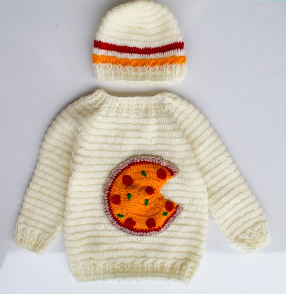 Woonie Handmade Pizza Sweater with Cap for Kids