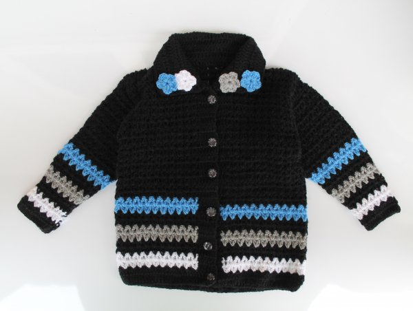 Woonie Handmade Black Collared Sweater for Kids