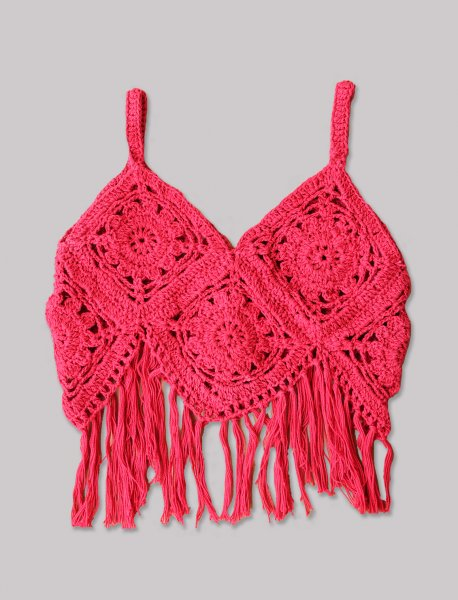 Red Strap Top with Fringes