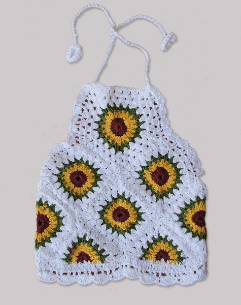 Sunflower Halterneck Summer Crop Top for Girls