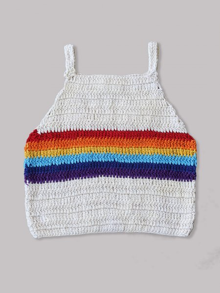 Rainbow Pattern Crop Top for Girls