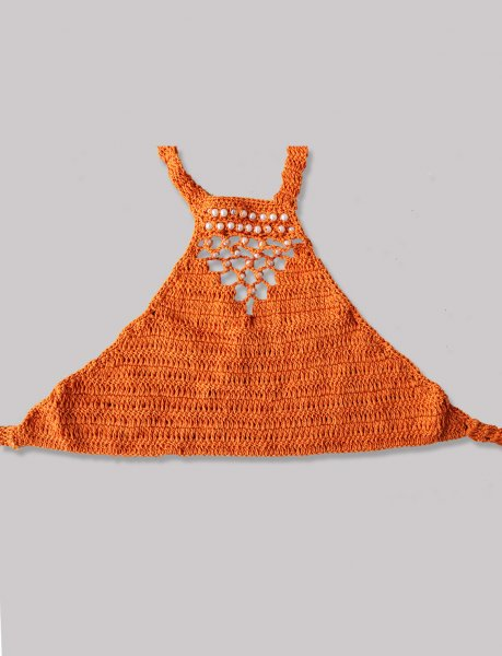 Orange Pearl Embellished Halterneck Summer Crop Top for Girls