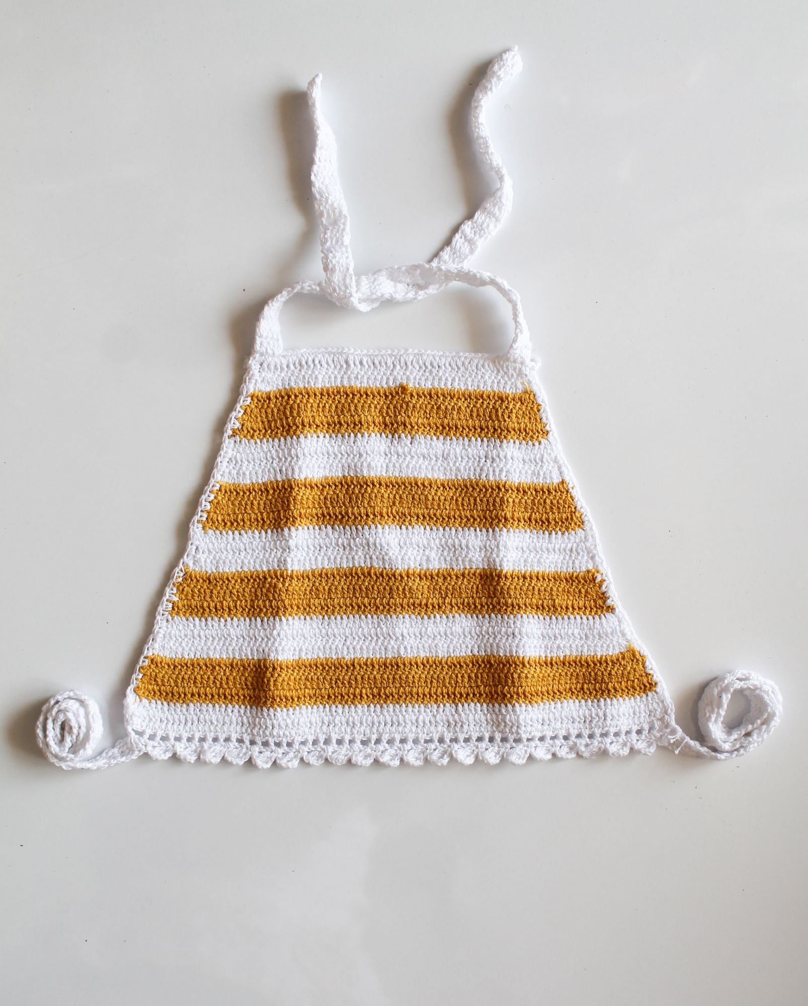 Yellow and White Striped Halterneck Summer Crop Top for Girls