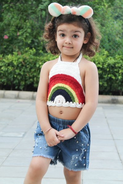 Rainbow Halterneck Summer Crop Top for Girls