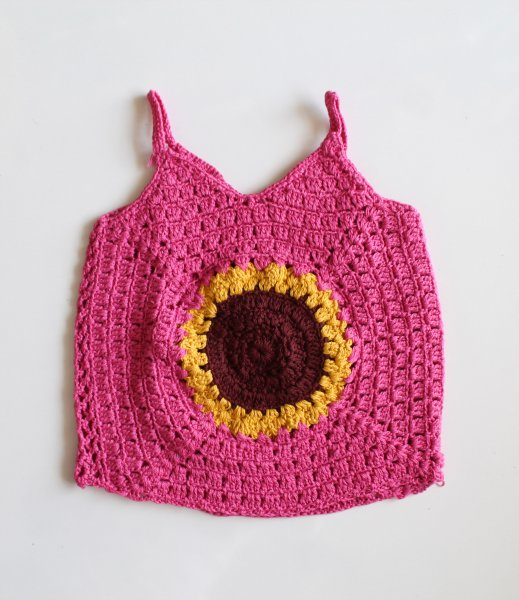 Pink Sunflower Summer Crop Top for Girls