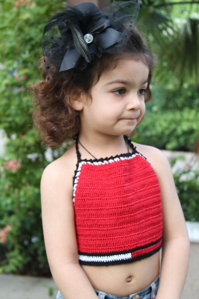 Red Halterneck Summer Crop Top for Girls