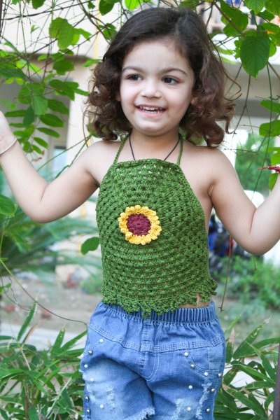 Green Sunflower Halterneck Summer Crop Top for Girls