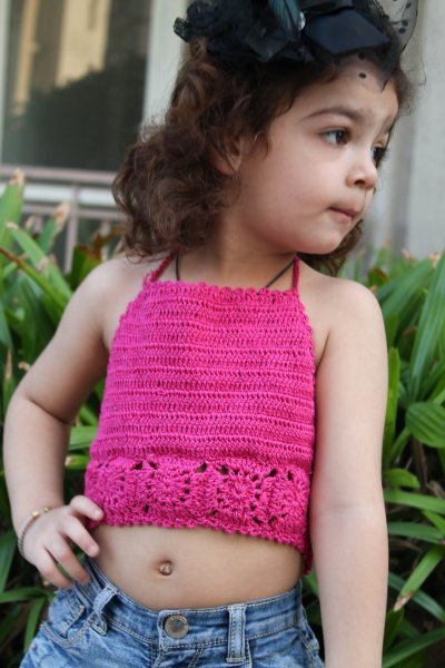 Pink Broad Strap Halterneck Summer Crop Top for Girls
