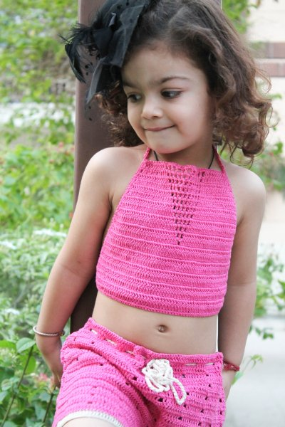 Pink Solid Halterneck Summer Crop Top for Girls