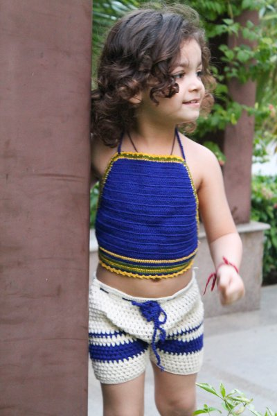Indigo Halterneck Summer Crop Top for Girls