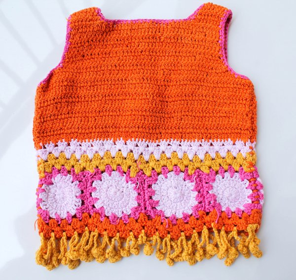 Orange Sleeveless Summer Crop Top for Girls