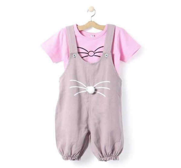Cute Dungaree Set With Pink Top