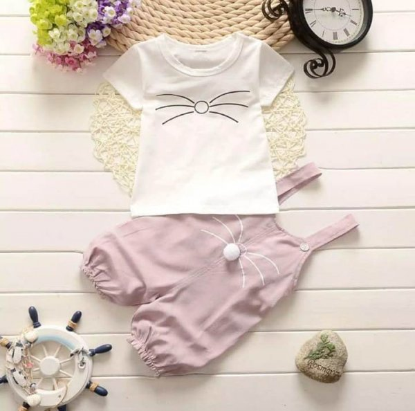 Cute Dungaree Set With White Top