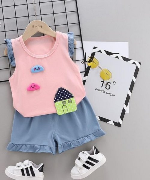Cute Pink and Blue Shorts Set