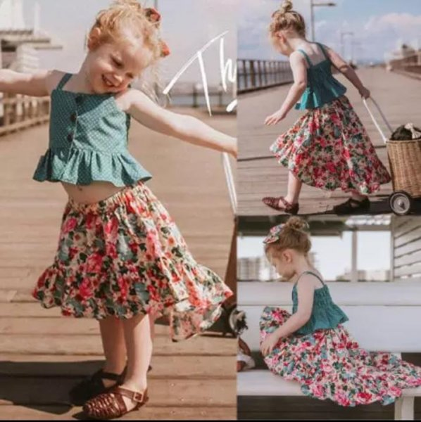 Cute Summer Set High Low Skirt