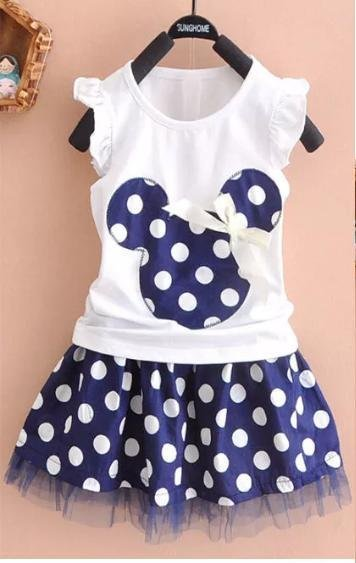 Cute White Polka Top & Skirt Set