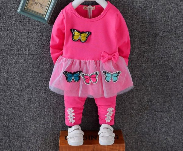 Dark Pink Butterfly  Applique Set for Girls
