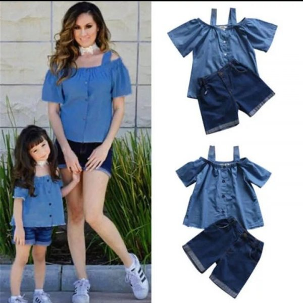 Denim buttoned Top with shorts