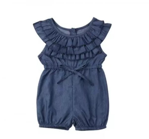 Denim Frill Neck Romper