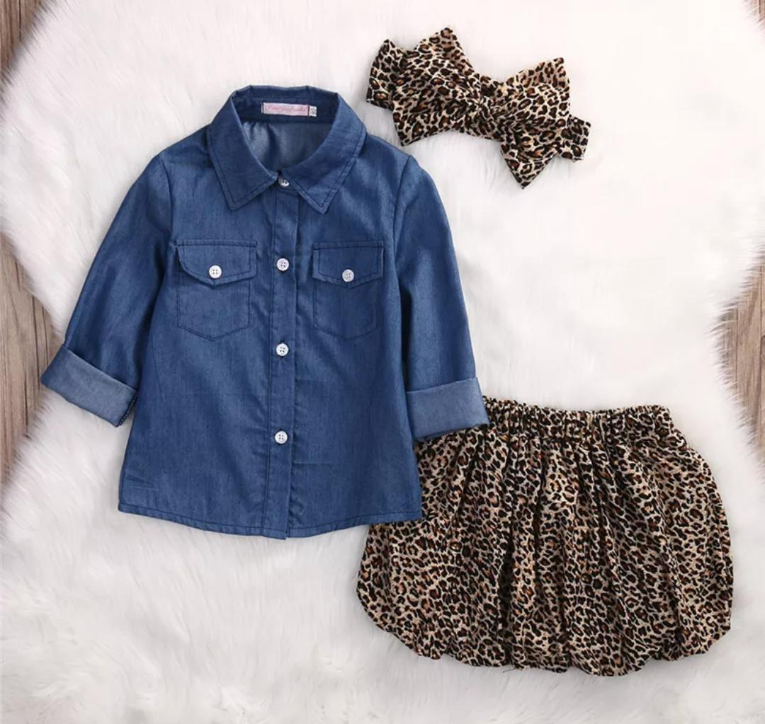 Denim Shirt with Animal Print Skirt And Headband