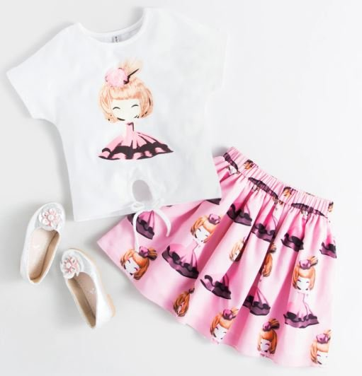 Doll Printed White Top & Pink Skirt