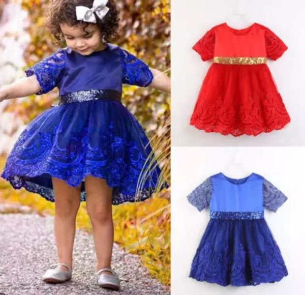 Flare Lace Party Princess Knee Length Dress with Golden Bow ( Blue )